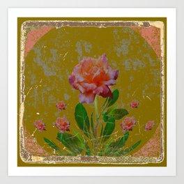 ANTIQUE AVOCADO COLOR  CORAL  PINK ROSES BOTANICAL ART Art Print