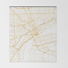 DETROIT MICHIGAN CITY STREET MAP ART Throw Blanket