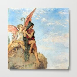 """Gustave Moreau """"Hesiod and the Muse"""" (1870) Metal Print"""