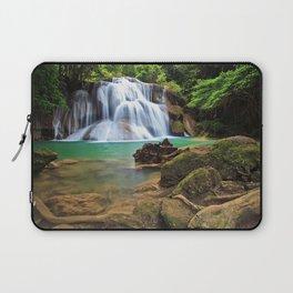 beautiful waterfall turquoise lake rainforest jungle waterfalls Thailand Laptop Sleeve