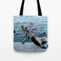 lions Tote Bags featuring Sea Lions by KatieKatherine