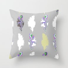 Inky Feathers Throw Pillow