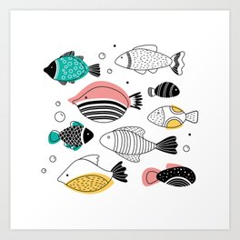 Into the blue - pink fish Art Print