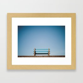 A bench with a view Framed Art Print