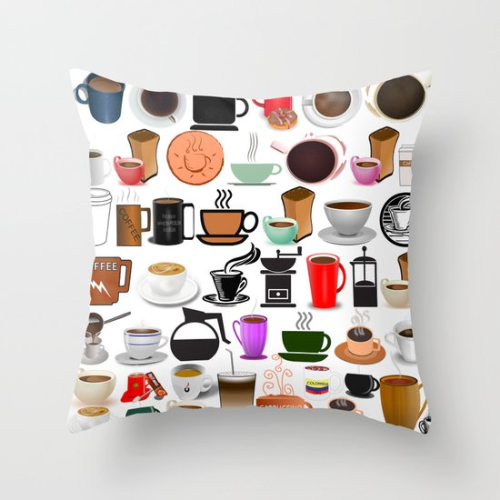 Decorative Pillow Makers : Coffee Mugs, Cups and Makers Throw Pillow by Gravityx9 Society6