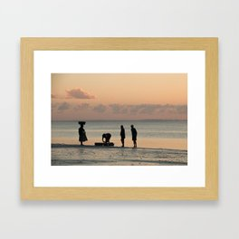 Silhouettes on the Beach Framed Art Print