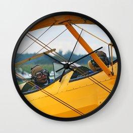 Oldtimer yellow plane Wall Clock