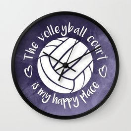 The volleyball court is my happy place purple abstract Wall Clock