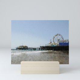 Sketched Santa Monica Pier Color Drawing Mini Art Print