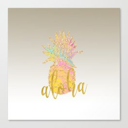 Metallic silver faux gold glitter tropical aloha pastel pineapple Canvas Print