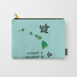 Hawaii Map Coordinates Carry-All Pouch