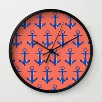 anchors Wall Clocks featuring Anchors by Maria Tanygina