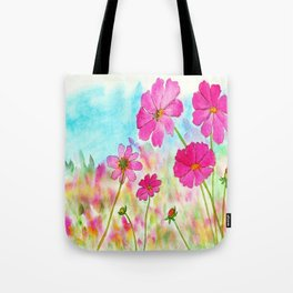 Symphony In Pink, Watercolor Wildflowers Tote Bag