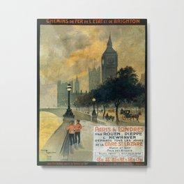 Paris a Londres, French Travel Poster Metal Print