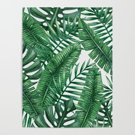 Palm Leaf Tropical Pattern Poster