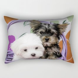 Maltese Puppy and a Yorkshire Terrier Puppy Cuddling in a Purple Basket with Flower Background Rectangular Pillow