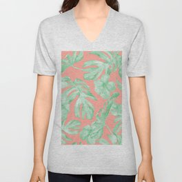 Tropical Palm Leaves Hibiscus Flowers Coral Green Unisex V-Neck