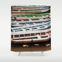 boats Shower Curtains featuring Boats by BTP Designs
