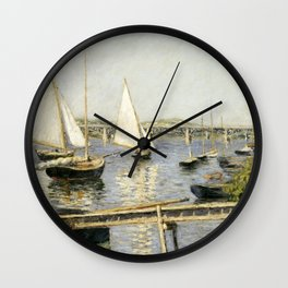Gustave Caillebotte - Sailing Boats at Argenteuil Wall Clock