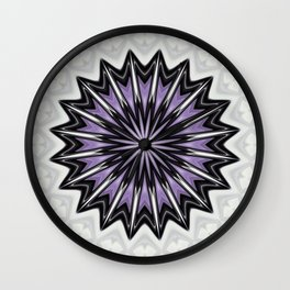 Ultra Violet Silver and Lilac Abstract Kaleidoscope Pattern Wall Clock