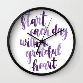 Gratitude Watercolor Quote- purple Wall Clock