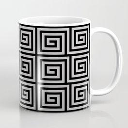 Hollywood Regency Greek Key Pattern Black and Gray Coffee Mug