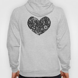 White on Black Florals Hoody