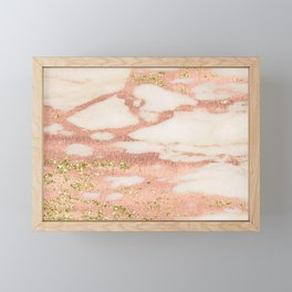 Marble - Rose Gold Shimmer Marble with Yellow Gold Glitter Framed Mini Art Print
