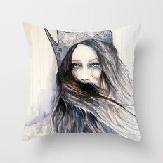 Snow Storm // Fashion Illustration Throw Pillow