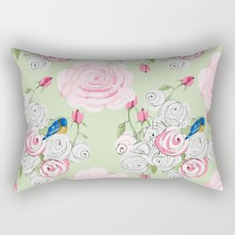 Shabby Chic Bluebirds and Roses Rectangular Pillow
