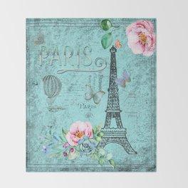 Paris - my blue love Throw Blanket