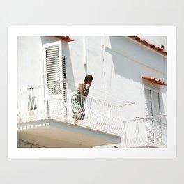 Lady on Balcony Art Print