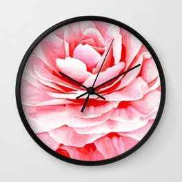 Watercolor Pink Camellia Wall Clock