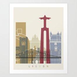 Lisbon skyline poster Art Print