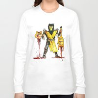 garfield Long Sleeve T-shirts featuring Scorpion Vs. Garfield by Max Scoville