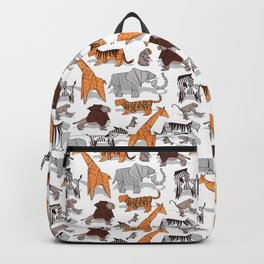Origami safari animalier // white background orange giraffes Backpack