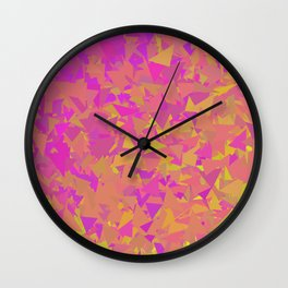 Pink, Orange, and Yellow Triangles Wall Clock