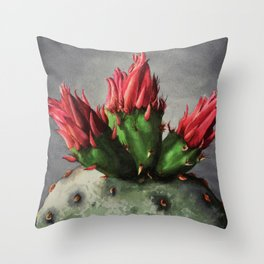 Blooming Opuntia Cactus Flower Throw Pillow