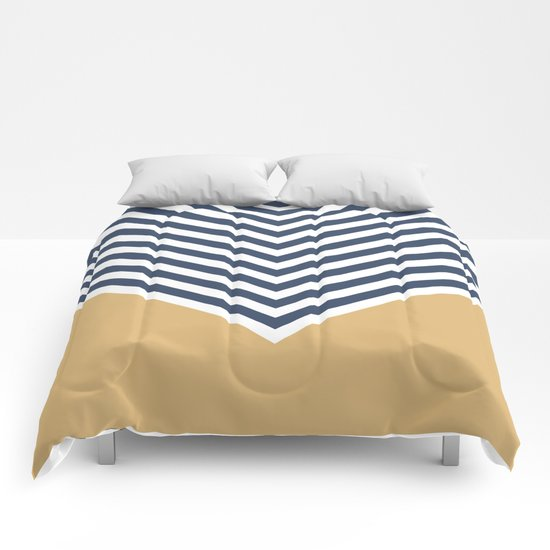 Gold & Navy Chevron Comforters