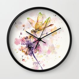 Dragonfly & Dandelion Dance Wall Clock
