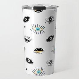 Eyes pattern white background Travel Mug