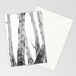 Birch Tree | Watercolour | Painting | black-and-white | Black and White | Minimalism Stationery Cards