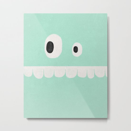 Face VI (mint green) Metal Print