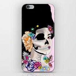 Sugar Skull Woman, Pink Background iPhone Skin
