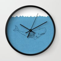the whale Wall Clocks featuring Whale by David Penela
