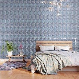 Shibori Braid Vivid Indigo Blue and White Wallpaper
