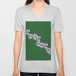 Cherry-blossoms Branch Decorative On A Field Of Fern Unisex V-Neck