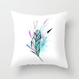 Polygonal Feather with Watercolor Throw Pillow