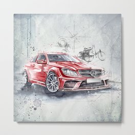 Red Beauty - Benz Metal Print