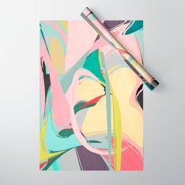 Shapes and Layers no.23 - Abstract Draper pink, green, blue, yellow Wrapping Paper